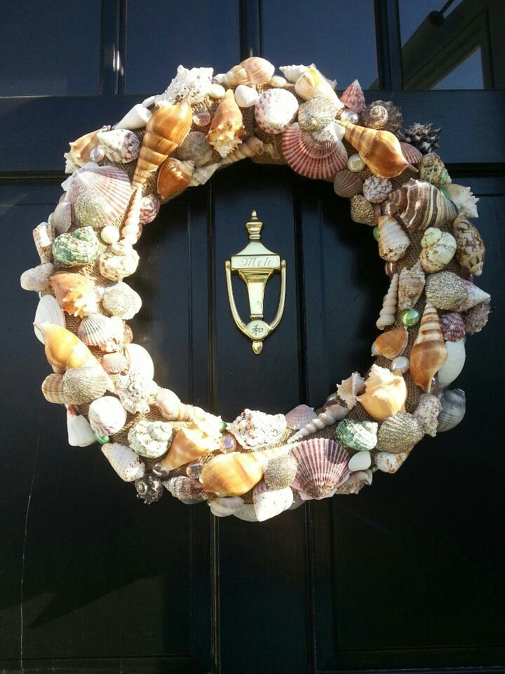 """Seashell wreath- I have one my sister gave me years ago. I have it in my """"seashell bathroom"""". I've always had one bathroom with a shell theme."""
