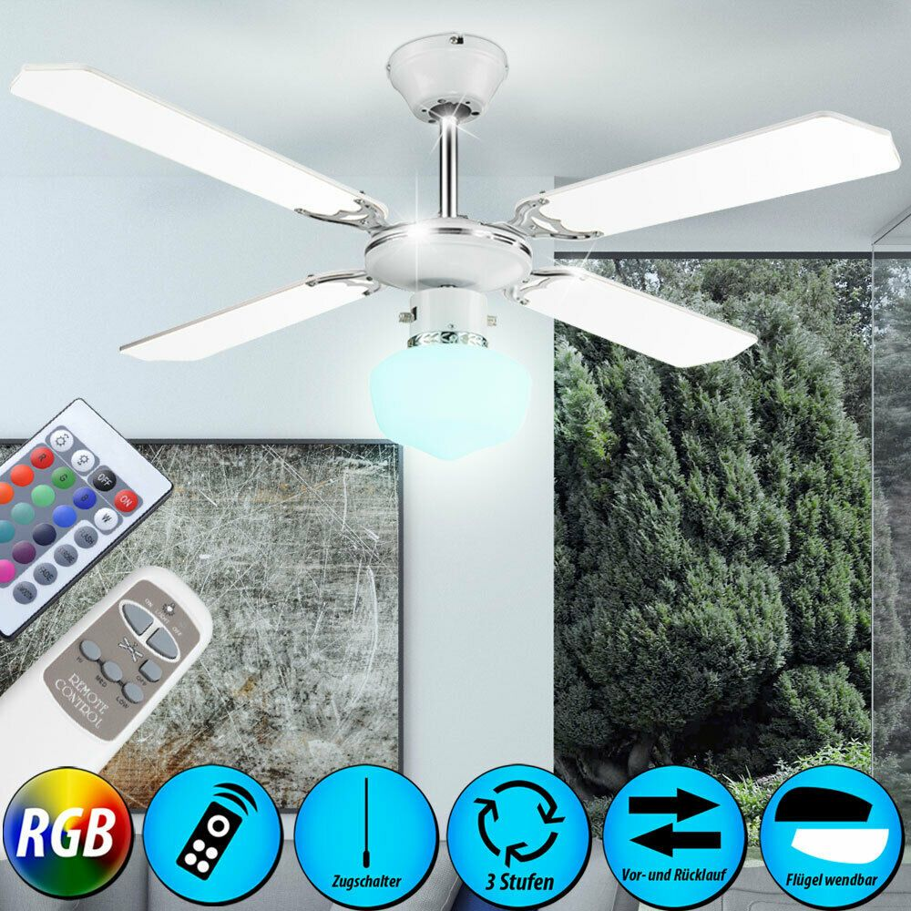 Rgb Led Couvrir Piece Glaciere Ventilateur Sejour Dimmable Telecommande Lampe Plafond Ventilateur Ventilateur Plafond