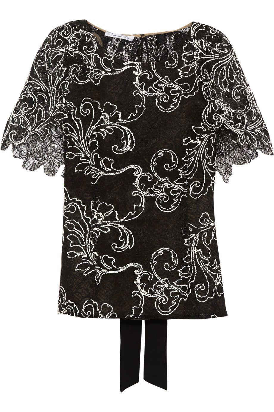 OSCAR DE LA RENTA Cape-Effect Guipere Lace Top. #oscardelarenta #cloth #top