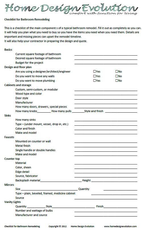 Printable Bathroom Remodel Checklist, Bathroom Remodel Schedule