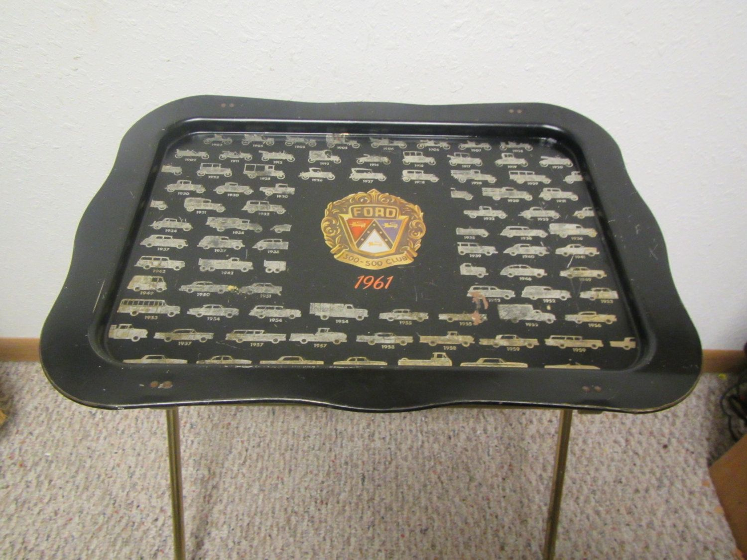 Vintage 1961 FORD Metal TV Tray * With Fords From 1903 To 1962 * Folding  Table