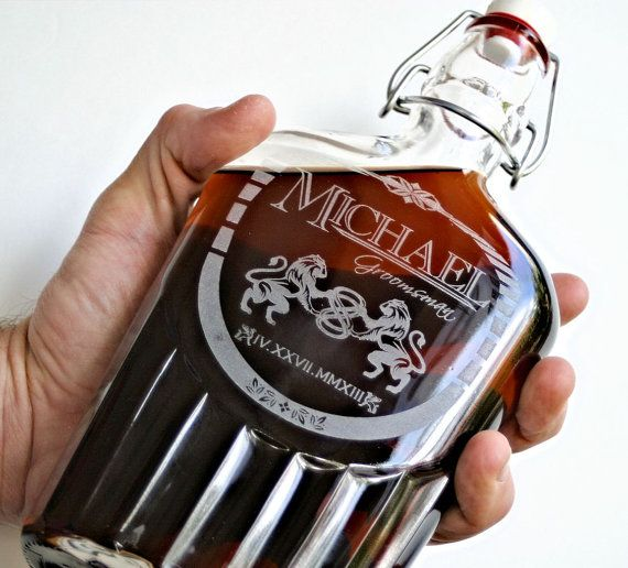 Etched Flask Swing Top Glass Decanter With Personalized Est Design Wedding Gift