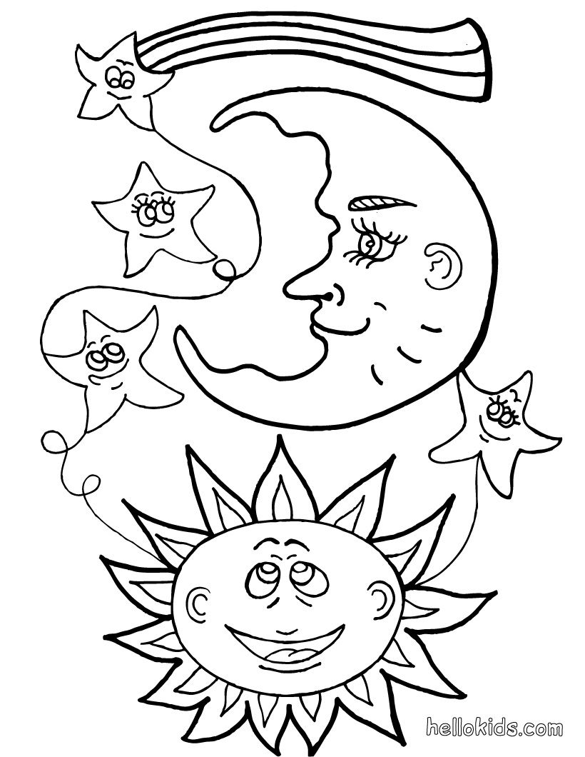 sun moon star coloring pages - Thinking Of You Coloring Pages