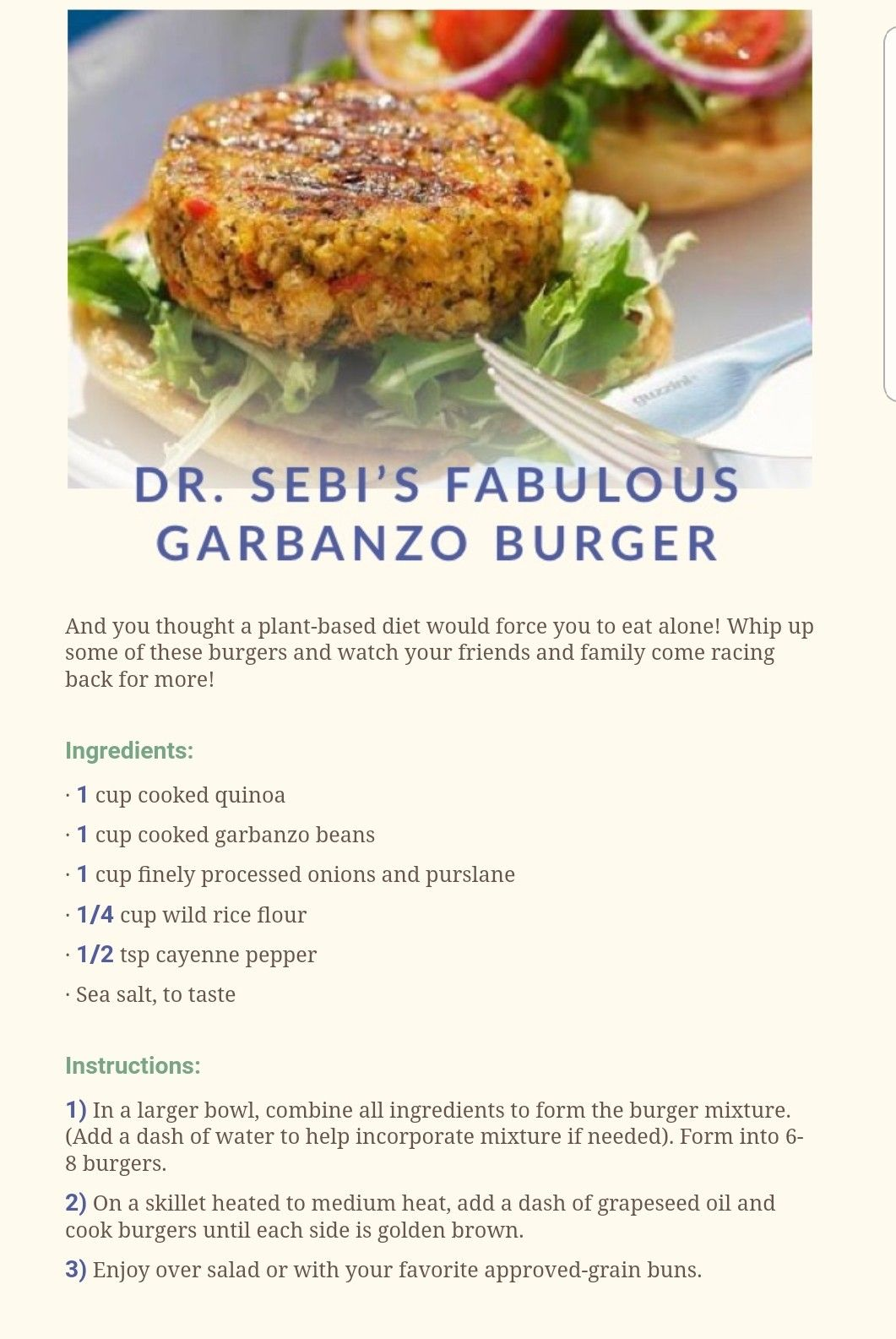 Dr Sebi Fabulous Garbanzo Burger | Dr  Sebi Alkaline Electric Foods
