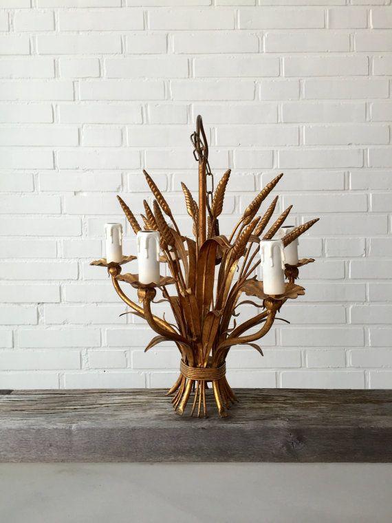 Krohn chandelier, chandelier, Florentine, gold spikes, design, lamp, gold, Art deco, vintage