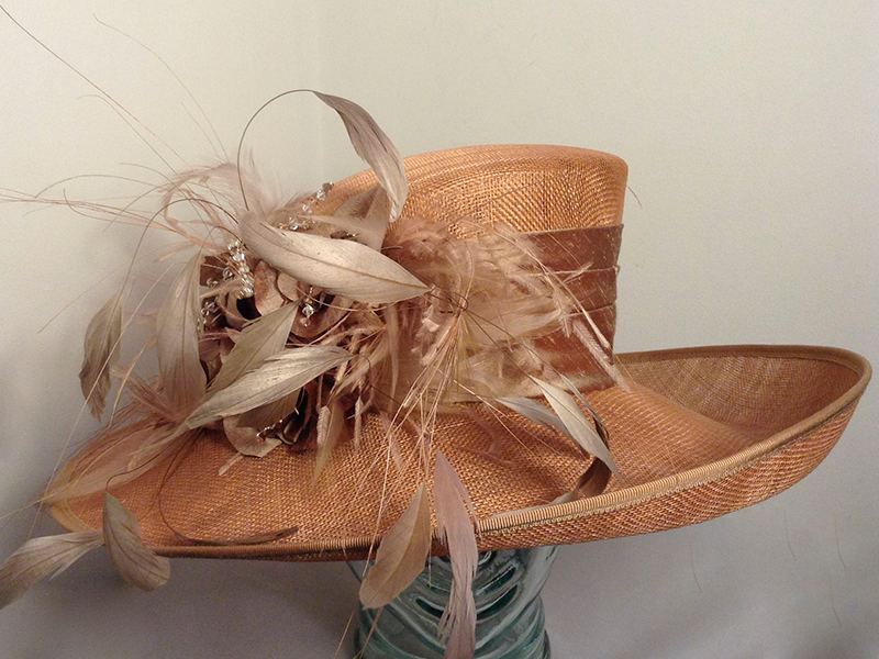 Rose Gold Hat 1352 Available To Or Hire Online In At Hadleigh Hats Es Upturned Brim Silk Band Feathers Wedding Ascot Occasion