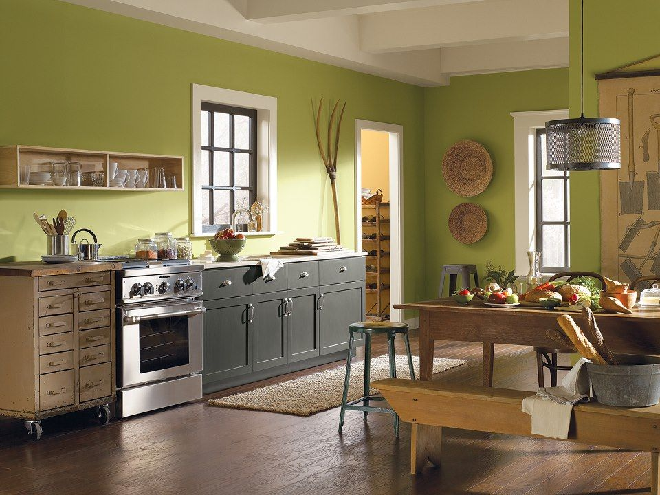Paint your walls with an earthy shade like parakeet sw for Earthy kitchen ideas