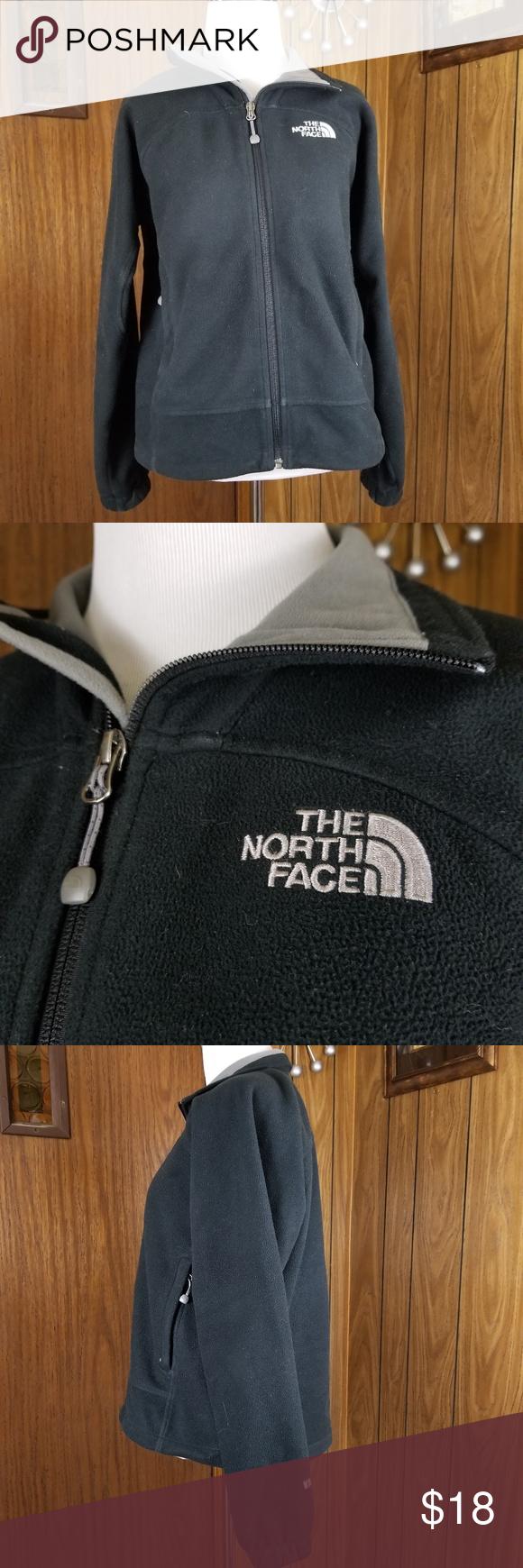 The north face womenus size s jacket fleece black face smoking