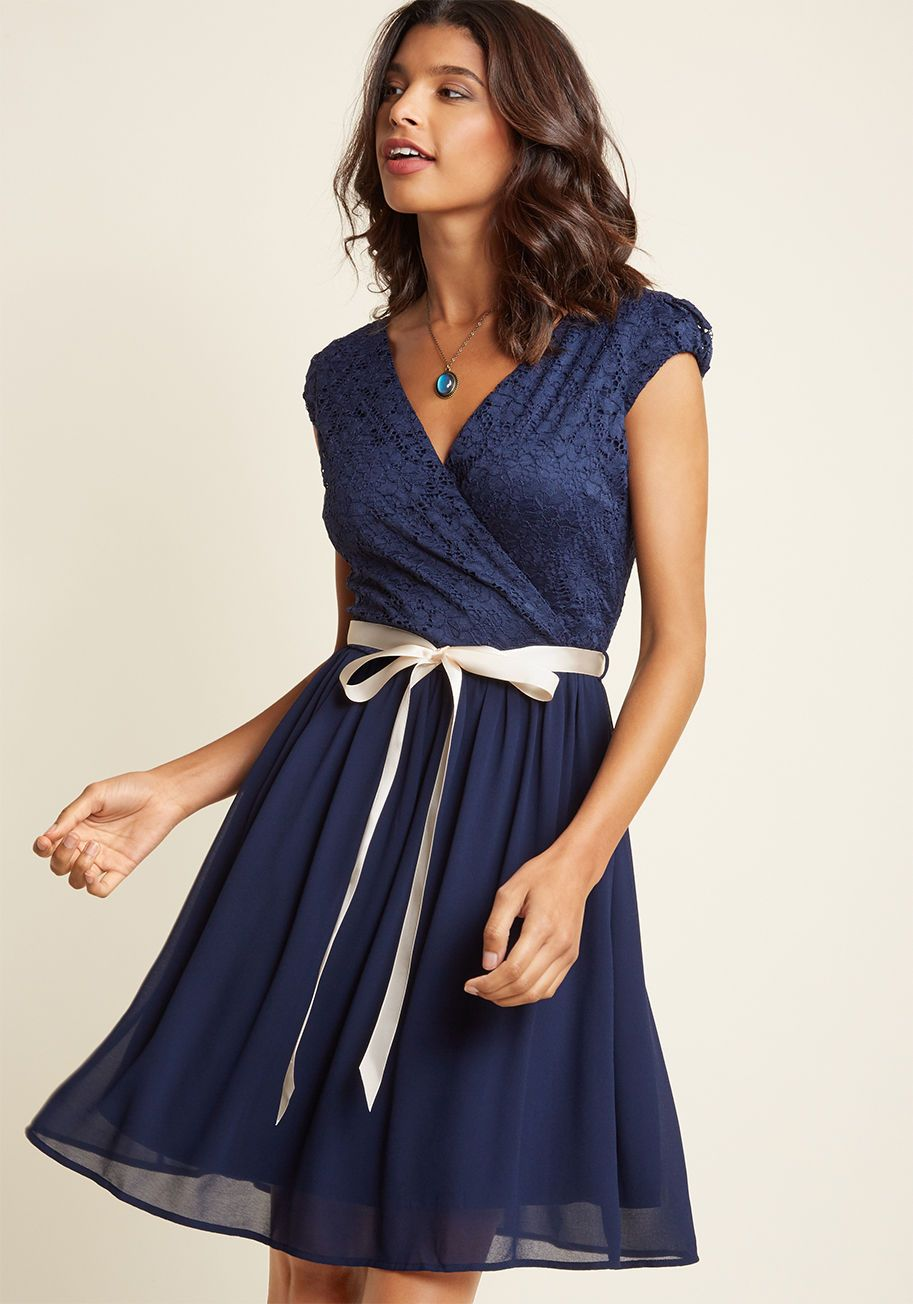 Beautifully bubbly aline dress in navy in wedding guest