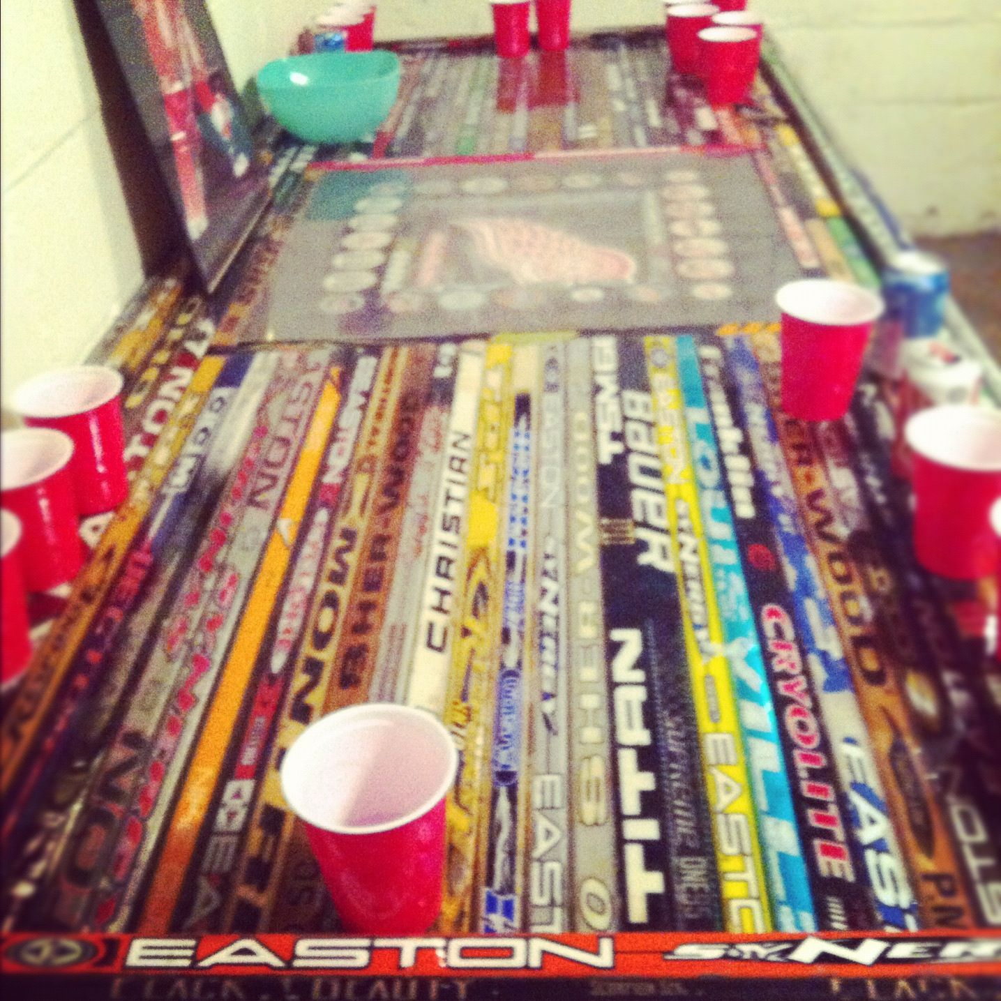 Hockey beer pong table - Hockey Stick Beer Pong Table Love It