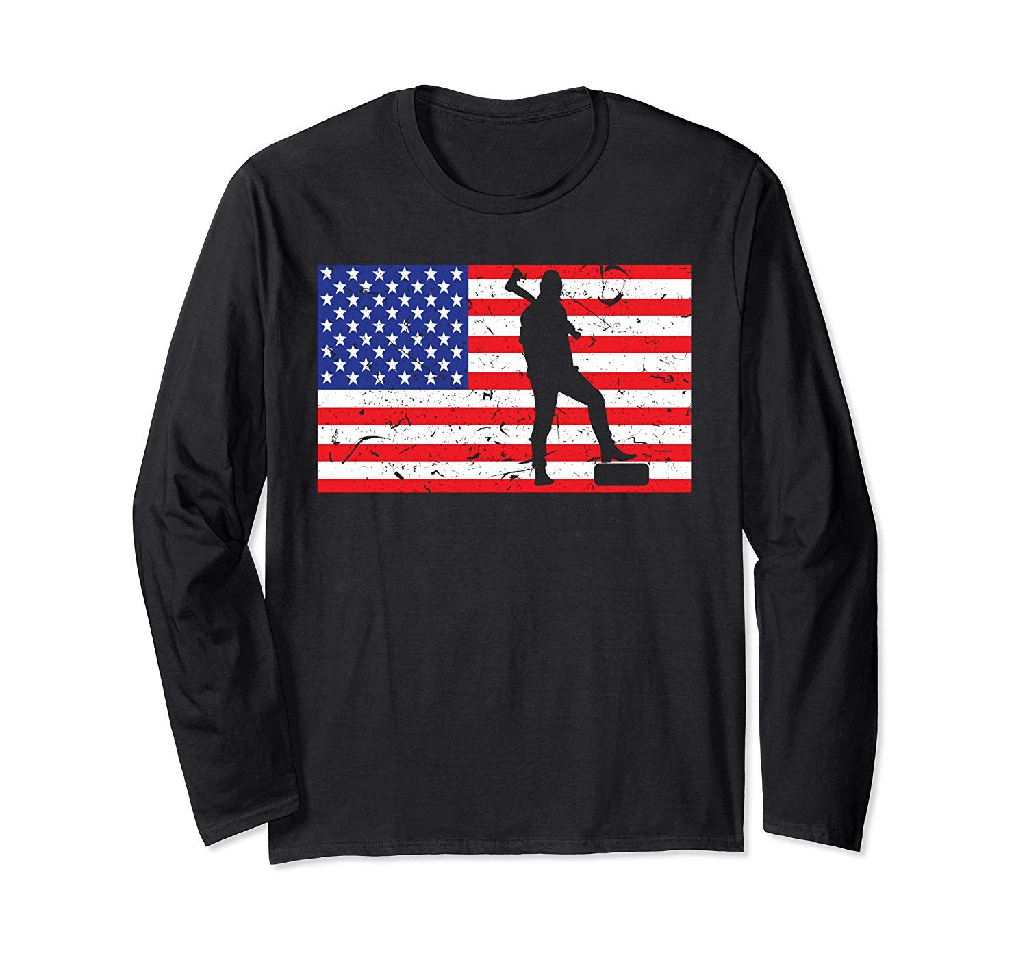 Distressed Lumberjack USA American Flag  Vintage Woodworker Long Sleeve T-Shirt #americanflagart