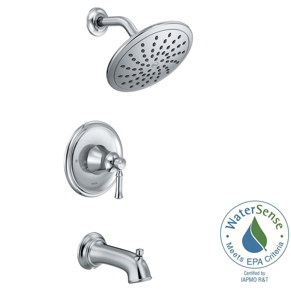 Moen Dartmoor Posi Temp Rain Shower 1 Handle Tub And Shower Faucet