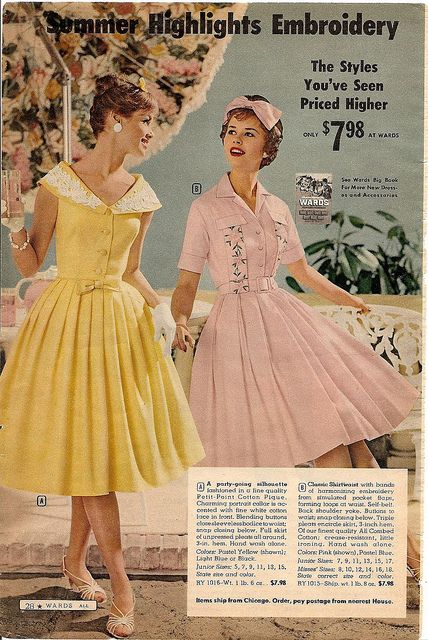 65fc7cd73 yellow pink embroidered shirt dress shirtwaist embroidered full skirt 50s  60s color photo print ad vintage fashion style