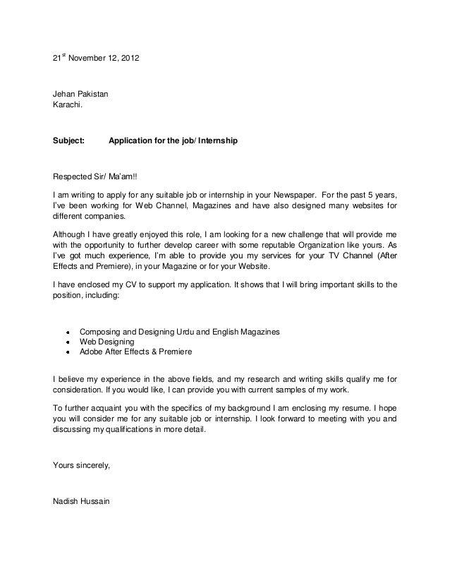 Http Image Slidesharecdn Com Coverletter 121216092327 Phpapp02 95 Slide 1 638 Jp Cover Letter For Resume Cover Letter For Internship Application Cover Letter