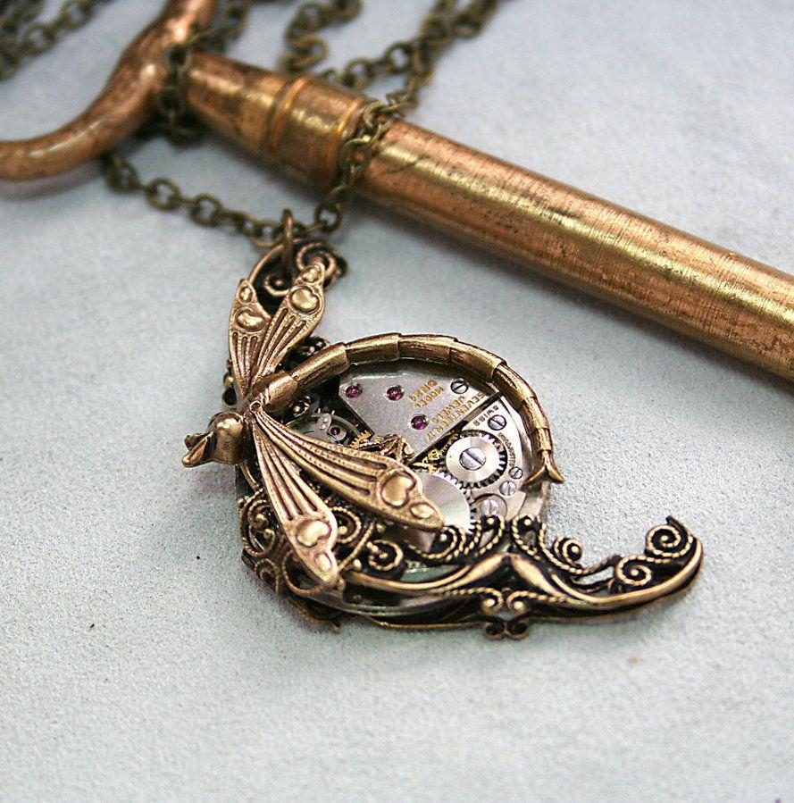 Victorian Steampunk Dragonfly Necklace by ~byrdldy on deviantART