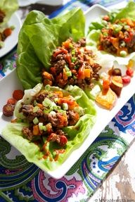 Thai Beef Lettuce Wraps Recipe | FamilyFreshCookin...  I made these tonight. I substituted ground chicken for the beef and substituted hoisin sauce for the fish sauce and it was one of the best things I have ever made. Hard to stop eating!!!