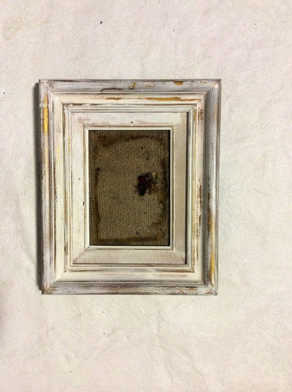 Vintage Golden And White Wood Picture Frame With Linen And Burlap Deco 12 X 10 Picture On Wood White Wood Wood Picture Frames