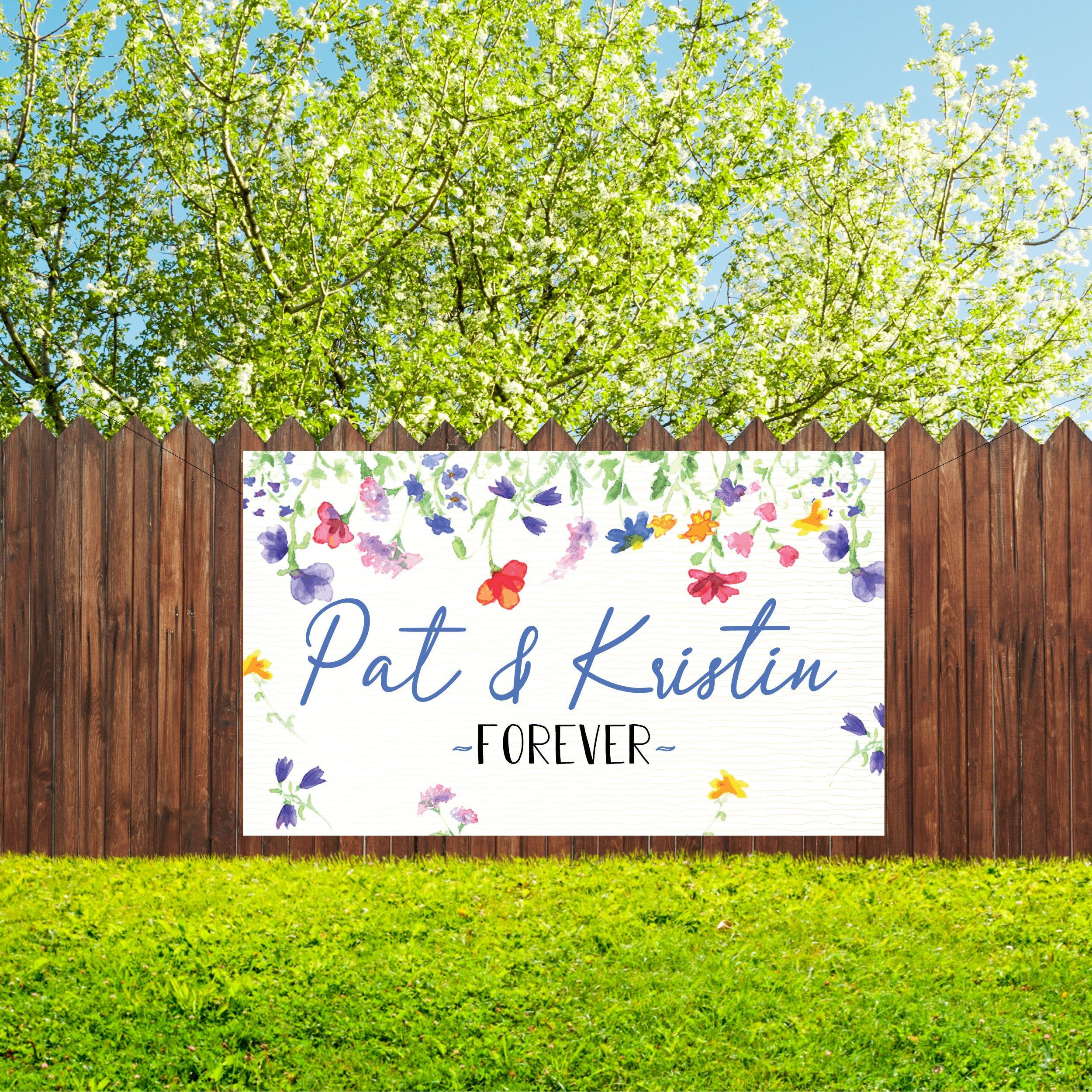 Custom Wedding Banner Custom Engagement Banner Custom Prom Banner Anniversary Banner Vinyl Outdoor In 2020 Wedding Banner Engagement Banner Anniversary Banner