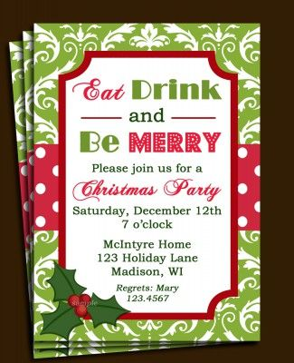 christmas lunch invitation template free invites pinterest