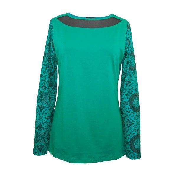 Camiseta verde escote transparente mangas estampadas