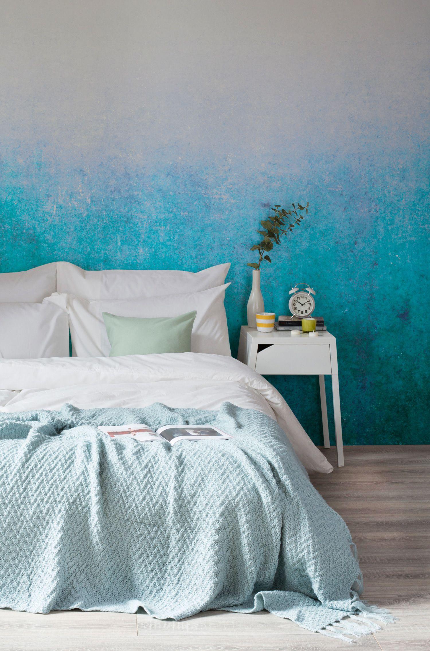 Blue Grunge Ombre Wallpaper Mural Hovia Apartment Decor Inspiration Apartment Decor Bedroom Wall Blue wallpaper room inspiration