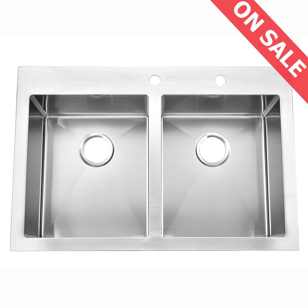 Kingo Home Stainless Steel Top Mount 33 Inch 10 Extra Deep 18 Gauge Drop