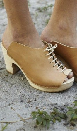 Lace up leather clogs