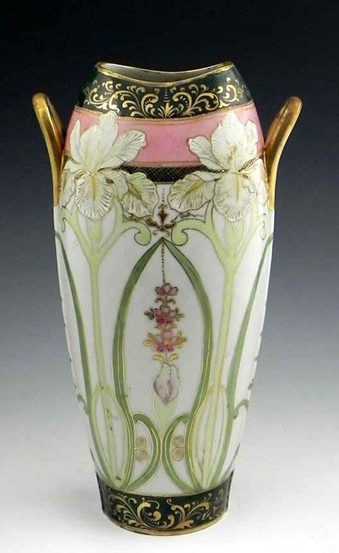 Japanese Hand Painted Porcelain Vase, early 20th c., in the style of Nippon, with polychromed and gilt floral decoration, H.- 14 in., W.- 8 in., D.- 5 in.
