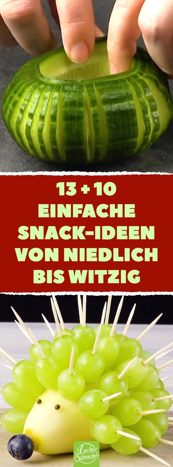 13 + 10 einfache Snack-Ideen von niedlich bis witzig. 23 Ideen: Obst, Gemüse & Kekse zu hübschen Snacks schneiden. #rezepte #obst #gemüse #kekse #snacks #leckerschmecker #obstgemüse