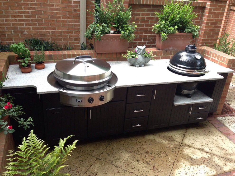 built in smoker green egg in black outdoor kitchen cabinets kitchen design kitchen design on outdoor kitchen with smoker id=69427