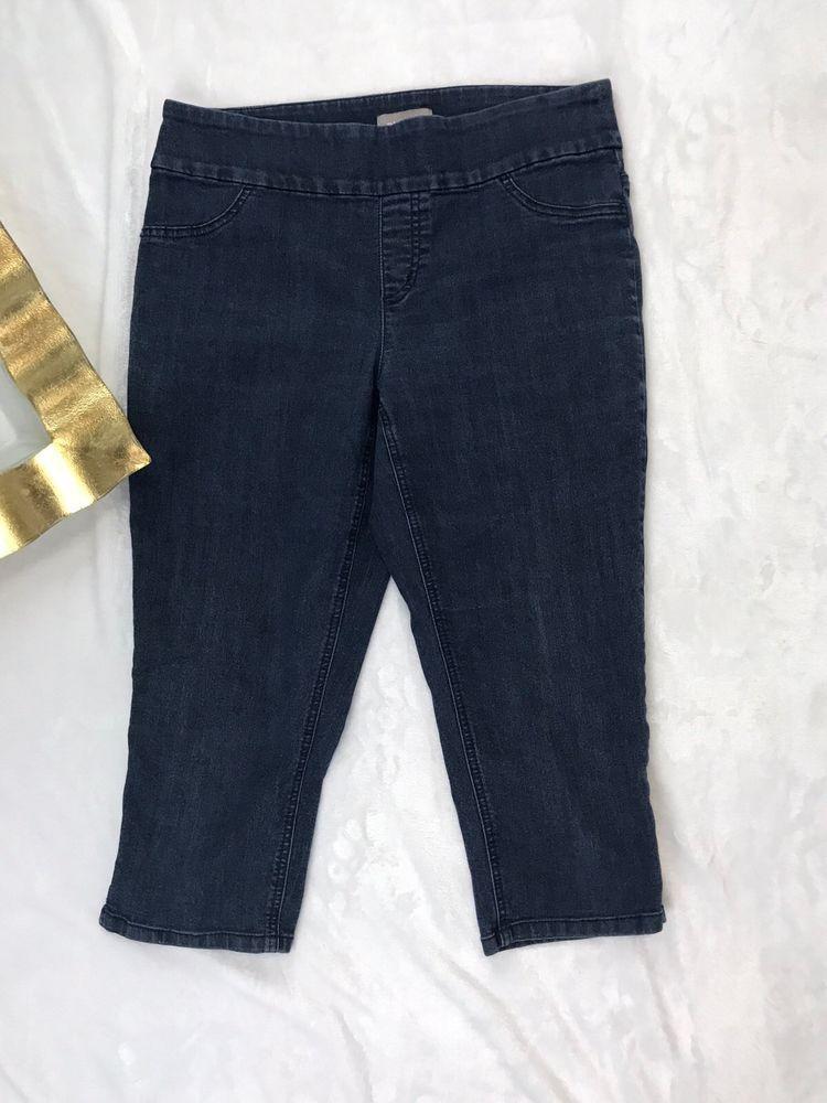 d4f97f1b5b Chico's Cropped Denim Stretch Jeans Capris Size 0.5 (4-6) Dark Wash Flat  Panel | eBay