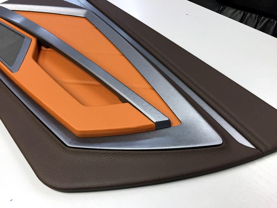 Custom Door Panels Inserts Fiberglass Router Work Modern Chevelle Maybe Brown Orange Tan Beige And Black And Silv Car Upholstery Custom Door Panel Doors