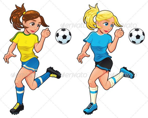 Soccer Female Players Girls Soccer Soccer Sport Illustration