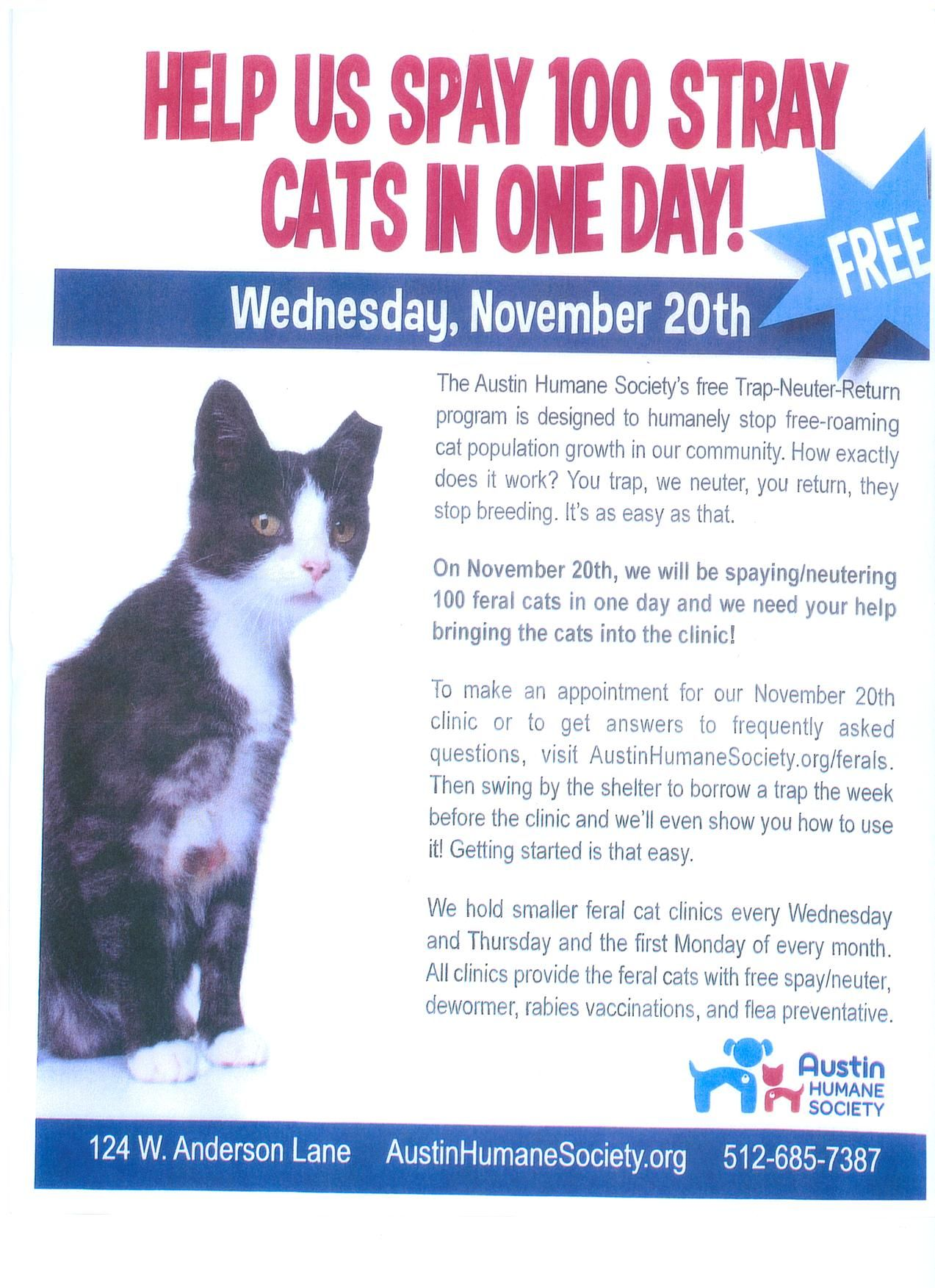 Austin Humane Society Mega Clinic November 20 Free Spay Neuter