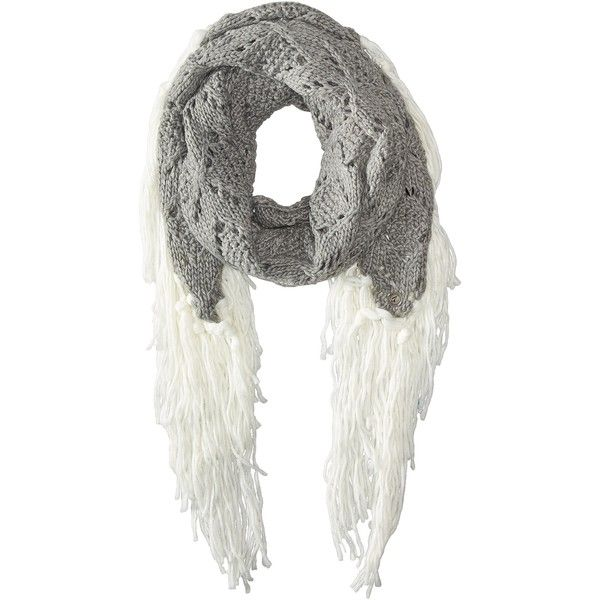 Volcom Gypsy Queen Scarf (Moonbeam) Scarves ($18) ❤ liked on Polyvore featuring accessories, scarves, taupe, fringe shawl, fringe scarves, cable knit scarves, volcom and gypsy scarves