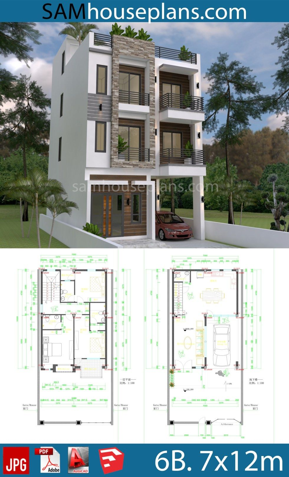 House Plans 7x10m With 6 Bedrooms Sam House Plans House Construction Plan House Plans Modern House Plans