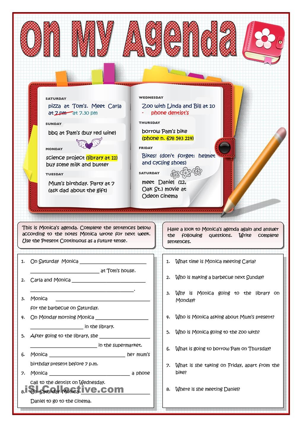 On My Agenda Present Continuous For Fixed Plans Grammar Practice Reading Comprehension Worksheets Reading Worksheets [ 1440 x 1018 Pixel ]