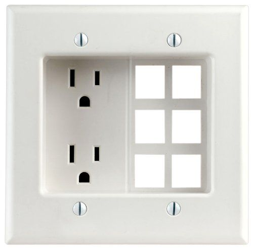 Leviton 690 W 15 Amp 2 Gang Recessed Device With Duplex Receptacle And Quickport Plate Residential Grade White Recessed Outlets Leviton Receptacles