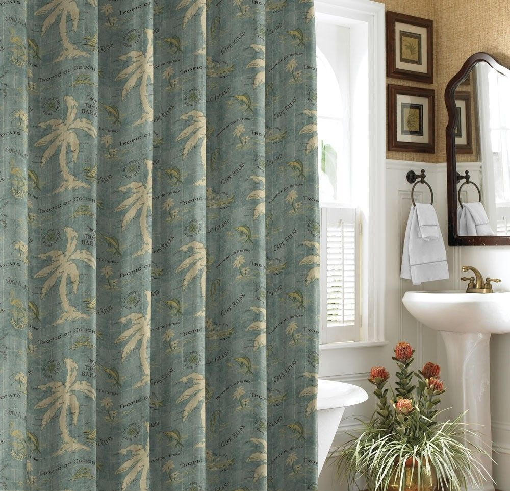 Island Song Cotton Shower Curtain Fabric Shower Curtains Tree Shower Curtains Tropical Bathroom