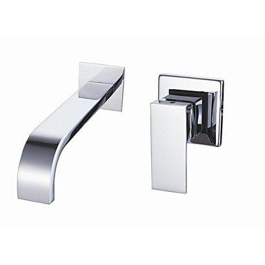 eigentijdse verchroomde afwerking muurbevestiging badkamer wastafel kraan - EUR € 60.29