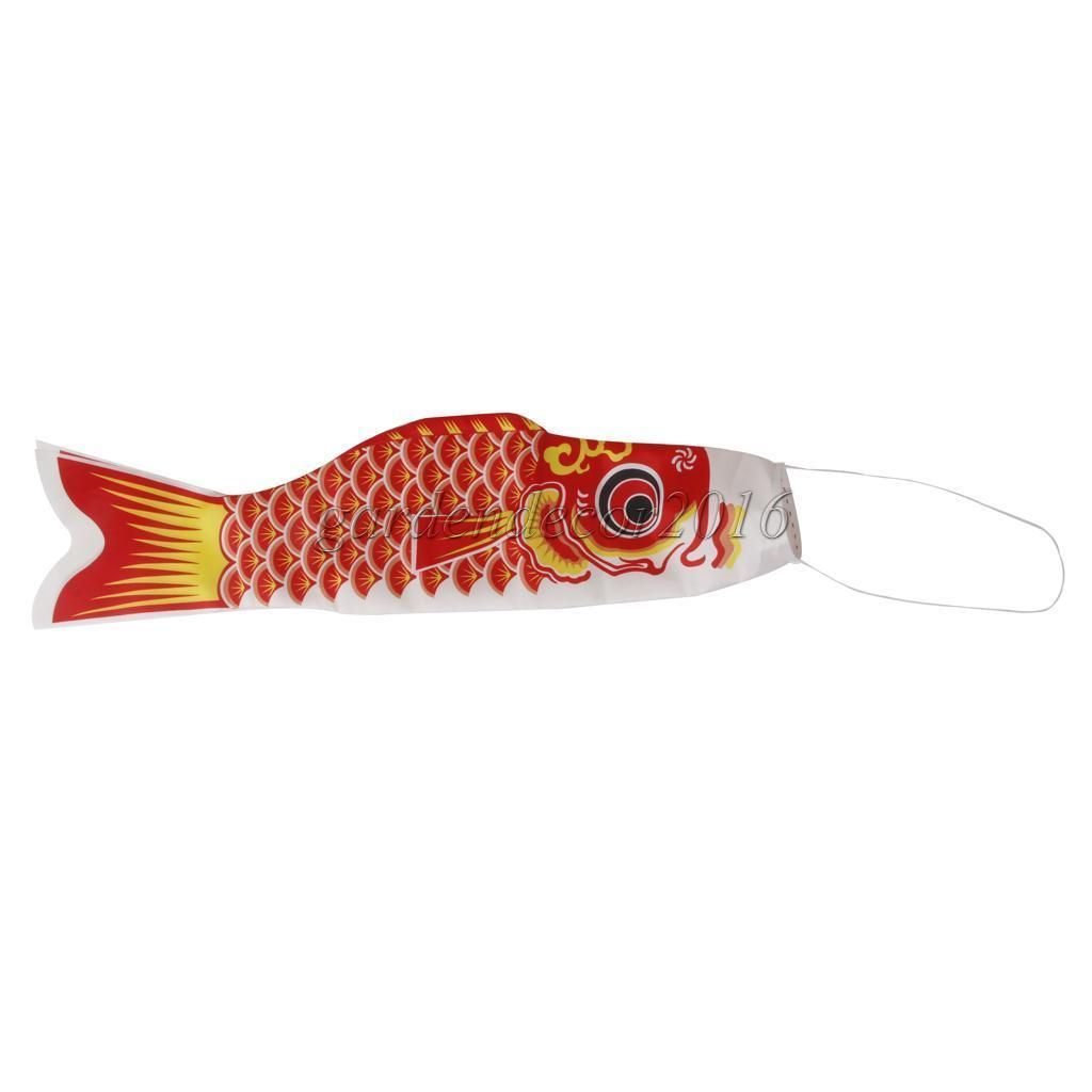 16inch Japanese Windsock Carp Flag Koi Nobori Sailfish Fish Garden Decor Red