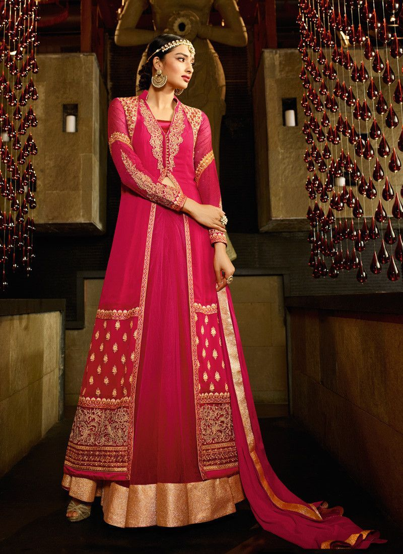 Achkan style red color with crystals stones work incredible