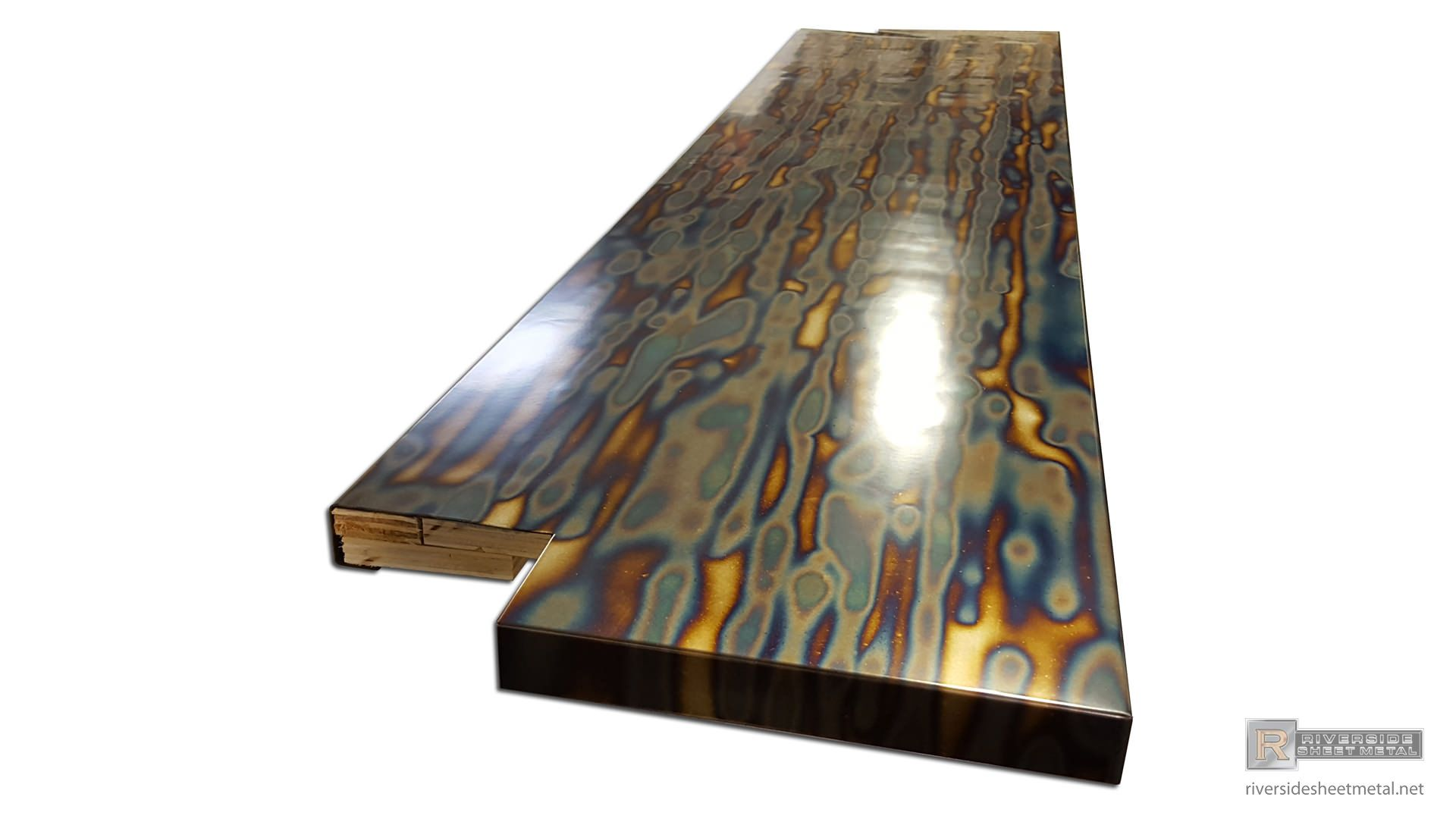 Blue heat patina cold rolled steel counter top clear