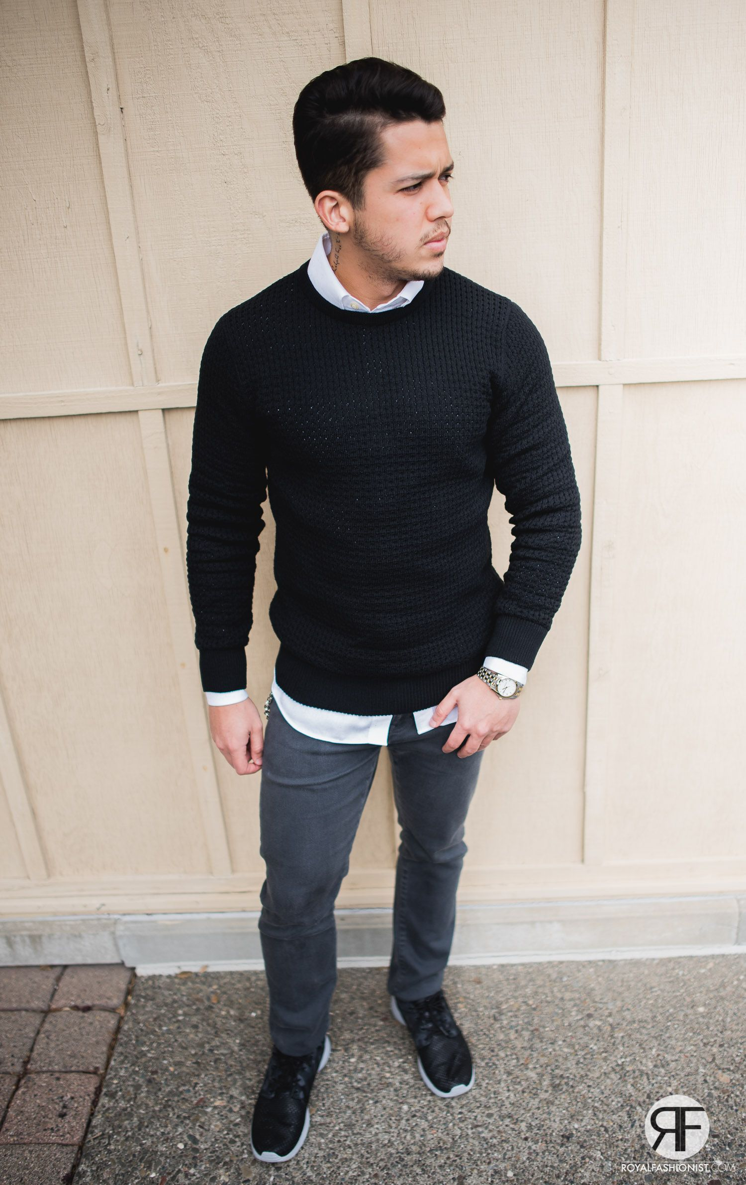 fancy mens white jumper outfit 9