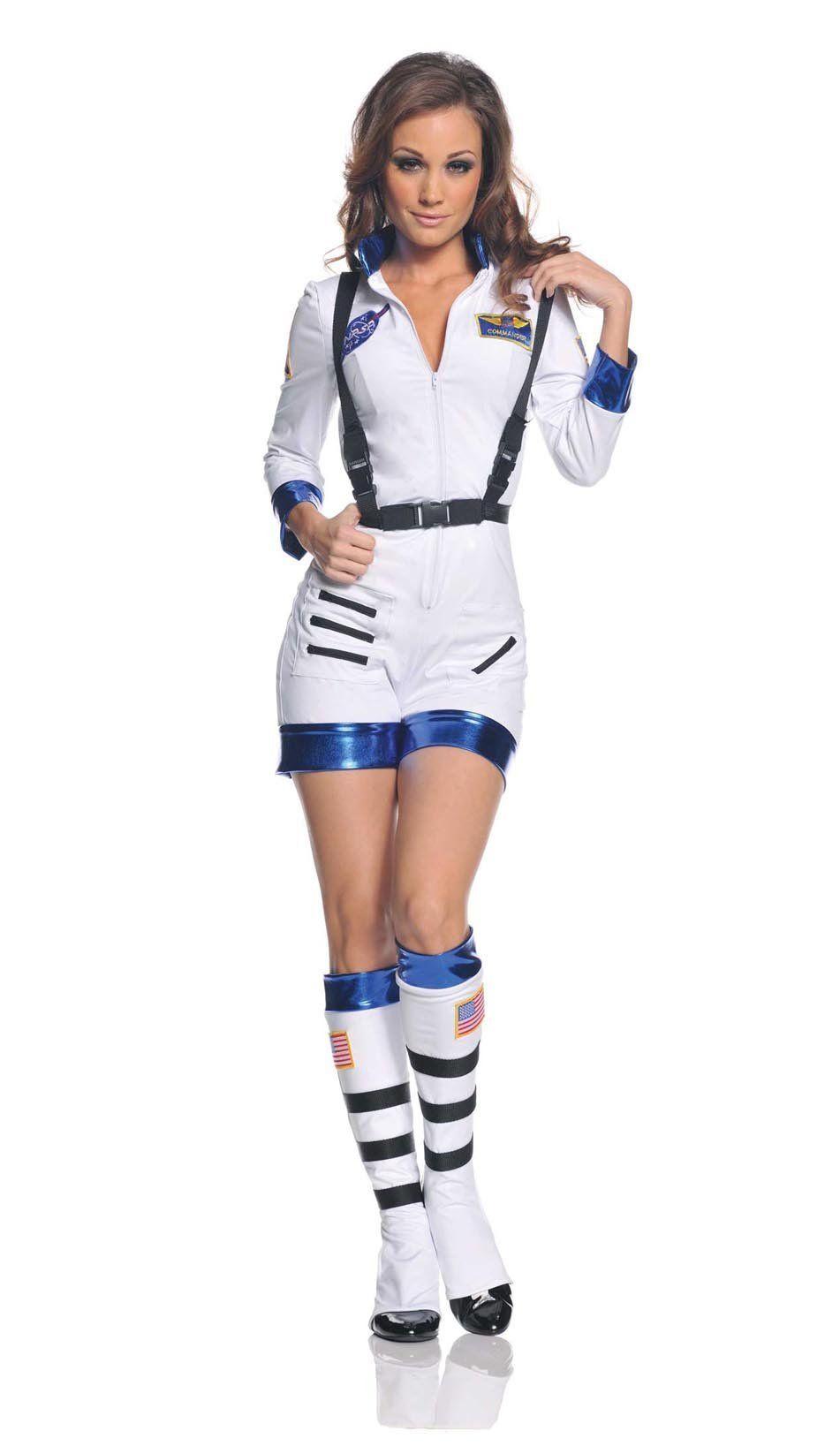 Rocket Female Astronaut Stretch Romper Costume White Adult  sc 1 st  Pinterest & Rocket Female Astronaut Stretch Romper Costume White Adult ...