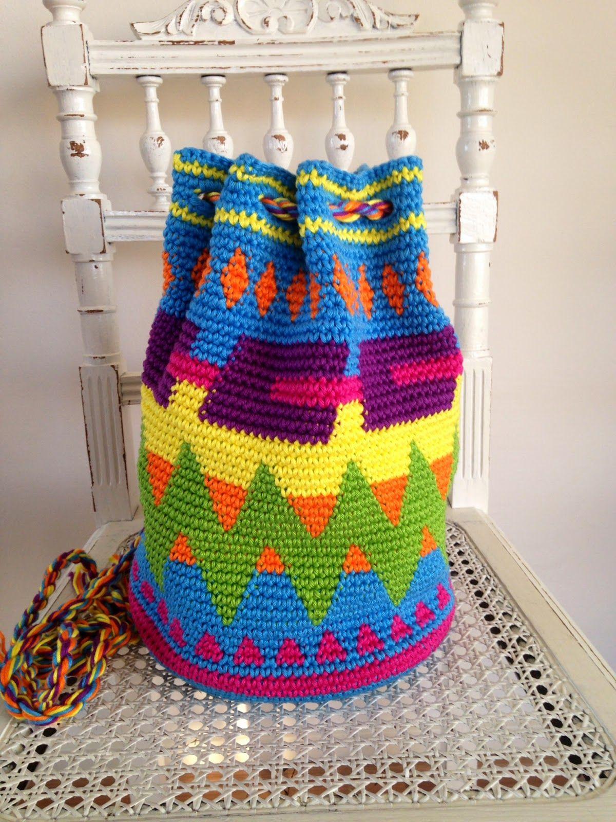 Draht und Grund ...: Mode Teppich häkeln mochila Tasche! | Tapestry ...