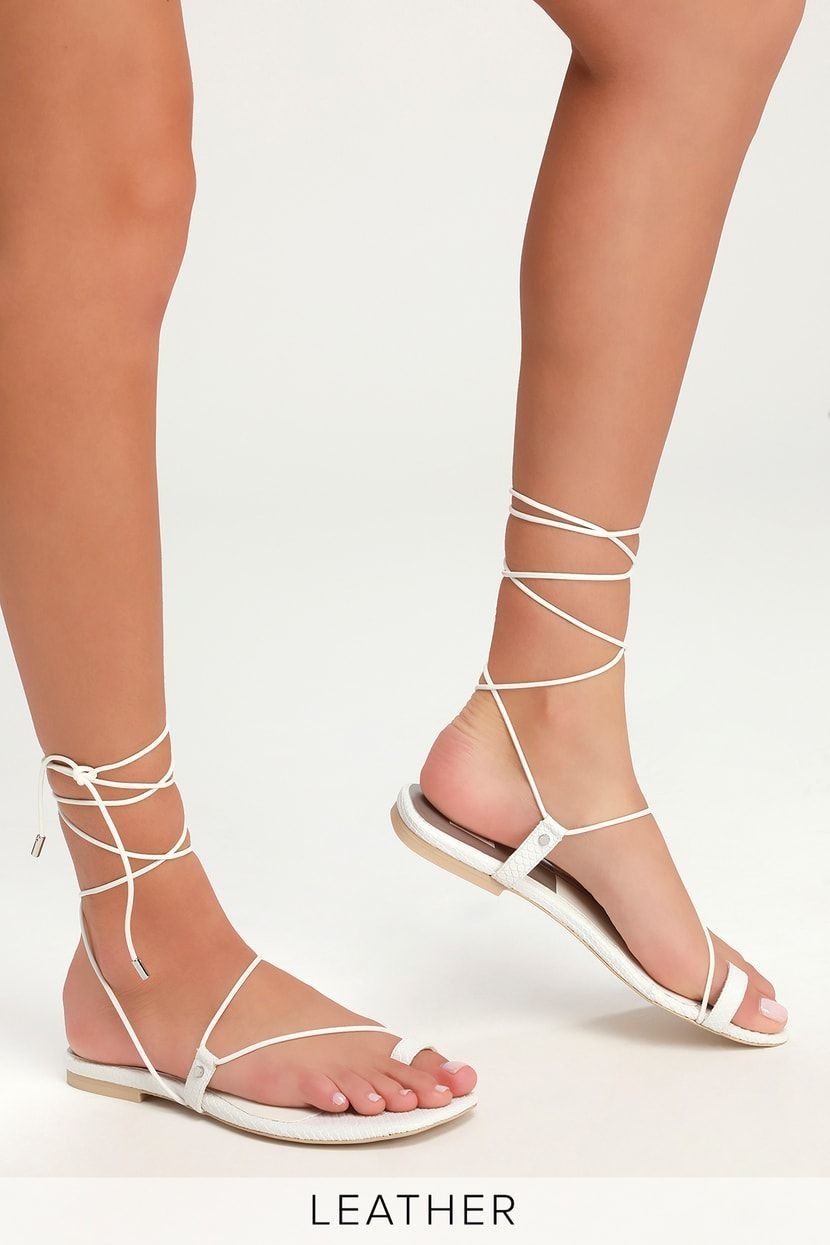 Dash White Leather Lace-Up Sandals