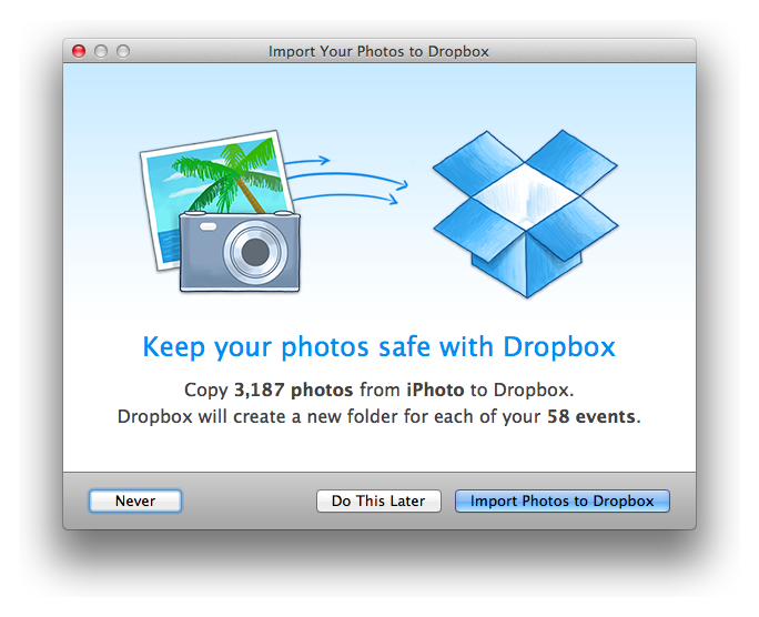 Dropbox for Mac brings iPhoto import tool and screenshot