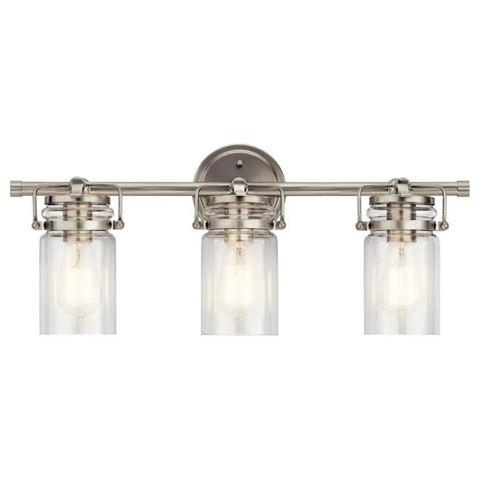 Kichler Brinley 3Light Nickel Farmhouse Vanity Light