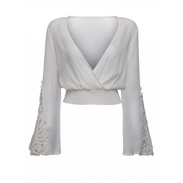 46230f6ca8159 Choies White V-neck Wrap Front Lace Insert Flared Sleeve Crop Top (£11) ❤  liked on Polyvore featuring tops